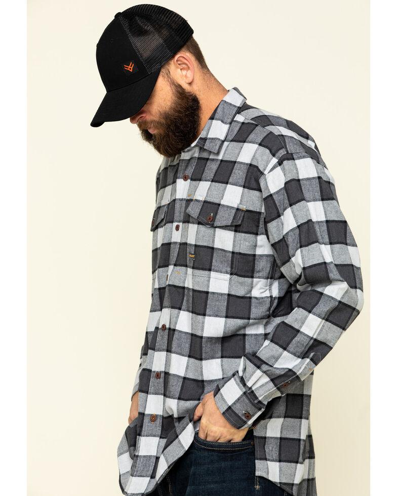 Ariat Men's Grey Heather Rebar Flannel Durastretch Plaid Long Sleeve Work Shirt - Big , Grey, hi-res