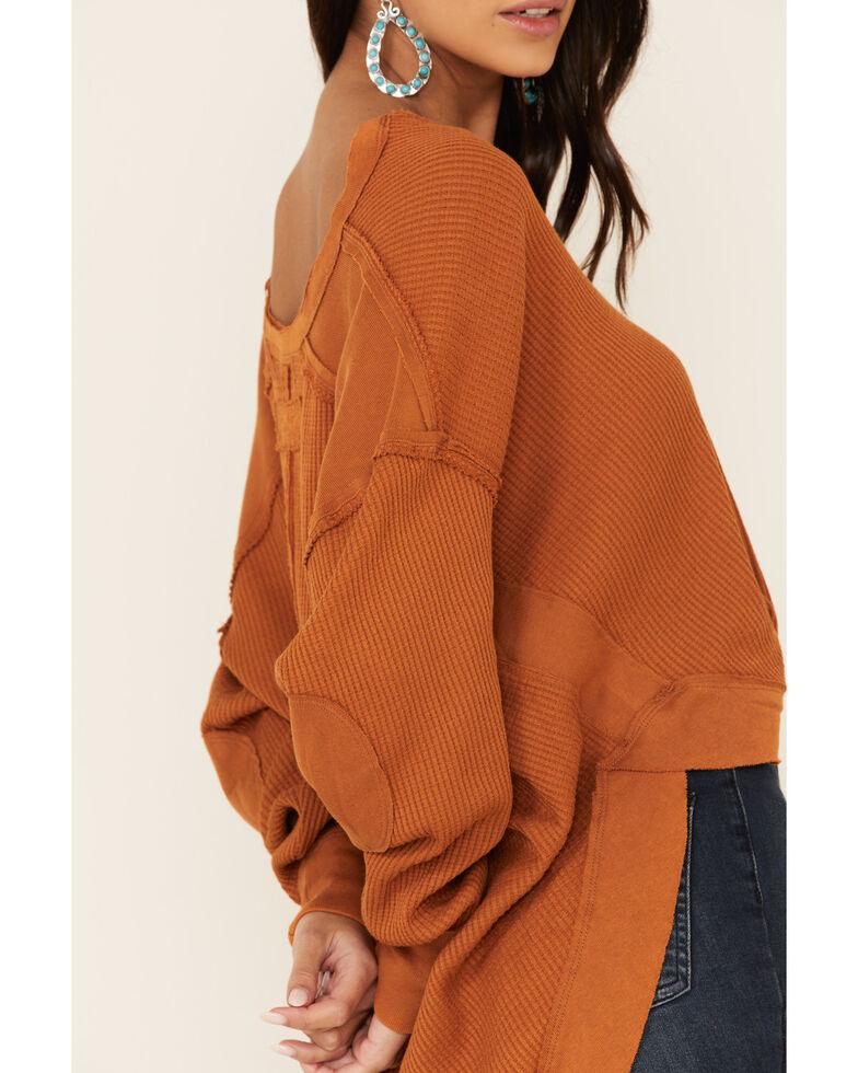 Free People Women's Owen Thermal Patchwork Top , Rust Copper, hi-res