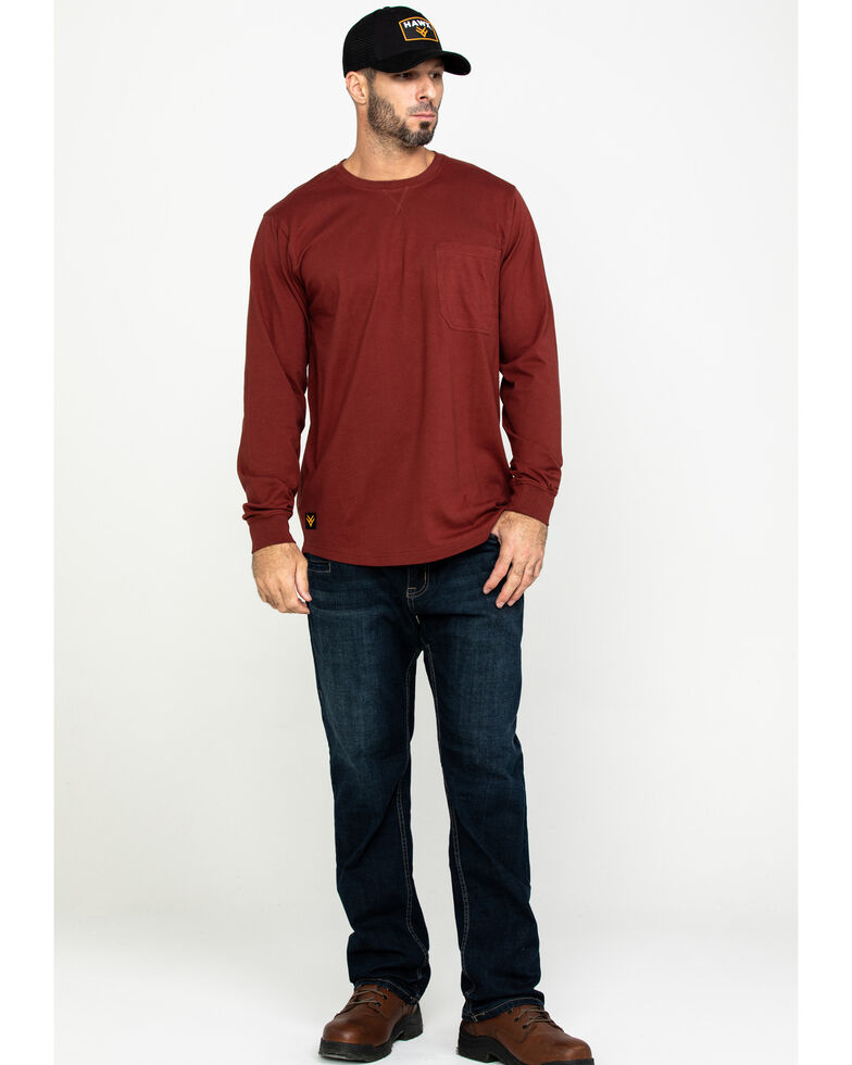 Hawx Men's Red Pocket Long Sleeve Work T-Shirt , Red, hi-res