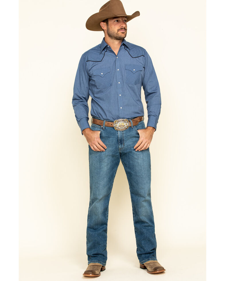 Ely Cattleman Men's Blue Chambray Piped Long Sleeve Western Shirt , Blue, hi-res