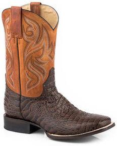 Roper Men's Caiman Embossed Western Boots - Square Toe, Brown, hi-res