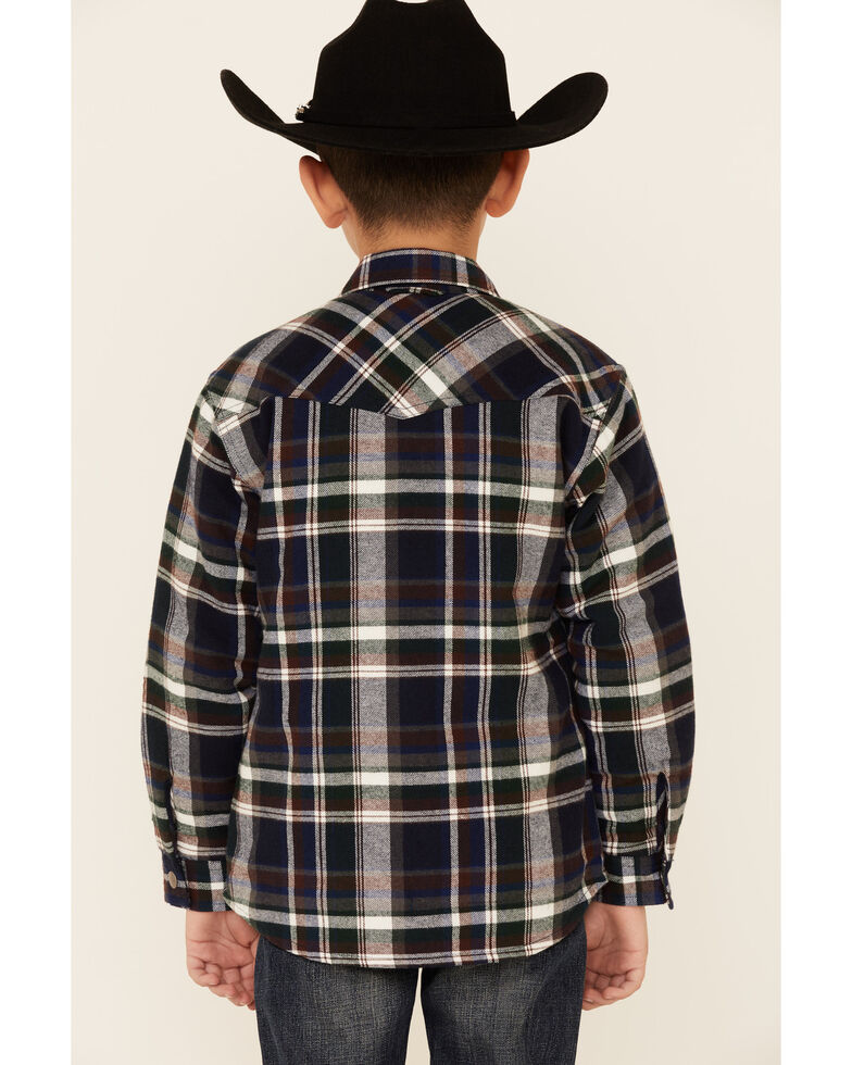 Roper Boys' Green Plaid Long Sleeve Snap Western Flannel Shirt , Green, hi-res