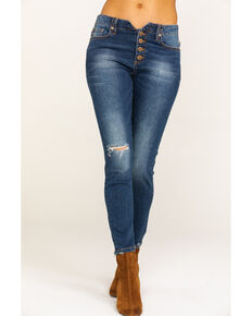19a09823818 Miss Me Women's Medium Button Front Distressed Skinny Jeans