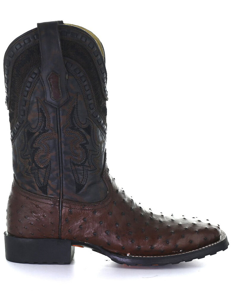 Corral Men's Tobacco Ostrich Inlay Western Boots - Square Toe, Brown, hi-res