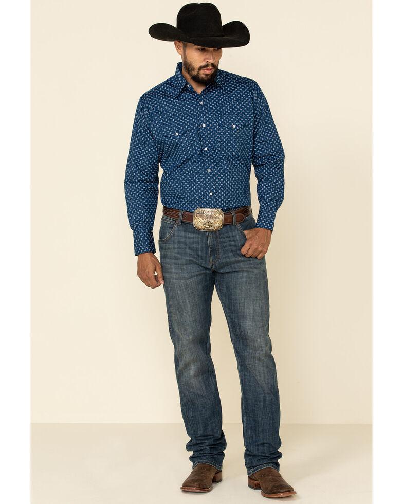 Ely Walker Men's Blue Small Geo Print Long Sleeve Western Shirt , Blue, hi-res