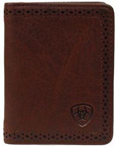 Ariat Perforated Edge Embossed Logo Bi-fold Wallet, Copper, hi-res