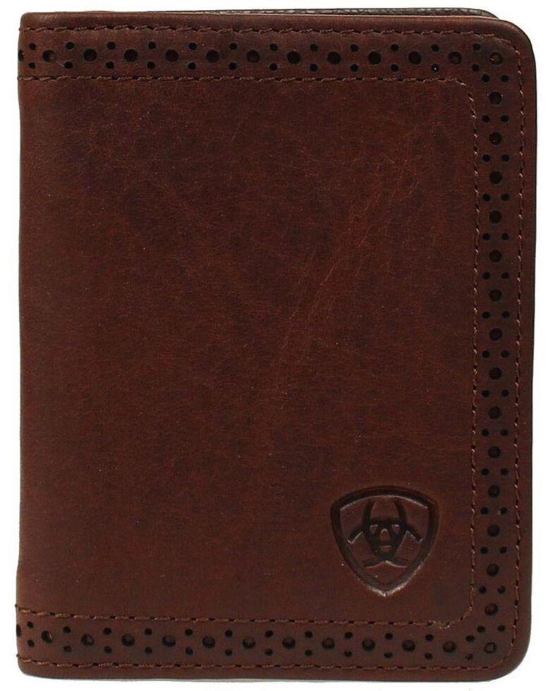 Ariat Perforated Edge Embossed Logo Bi-fold Wallet, , hi-res