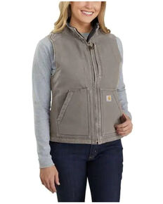 Carhartt Women's Taupe Washed Duck Sherpa Lined Vest - Plus, Taupe, hi-res