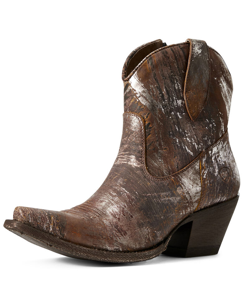 Ariat Women's Circuit Cruz Silver Western Booties - Snip Toe, Brown, hi-res