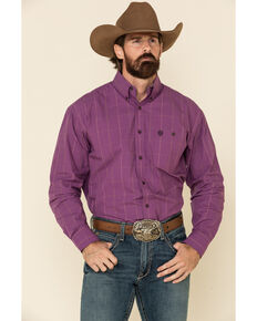 George Strait By Wrangler Men's Plum Micro Check Plaid Long Sleeve Western Shirt - Tall , Purple, hi-res