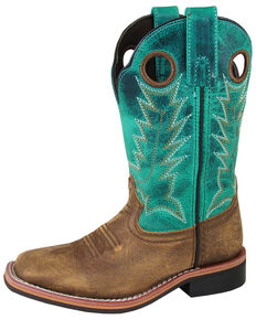 Smoky Mountain Youth Boys' Jesse Western Boots - Square Toe, Brown/blue, hi-res