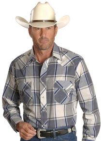 Wrangler Men's Assorted Long Sleeve Western Shirt - Big & Tall, Plaid, hi-res