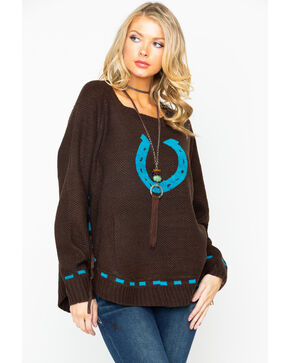 Wrangler Women's Horseshoe Front Knit Sweater, Brown, hi-res