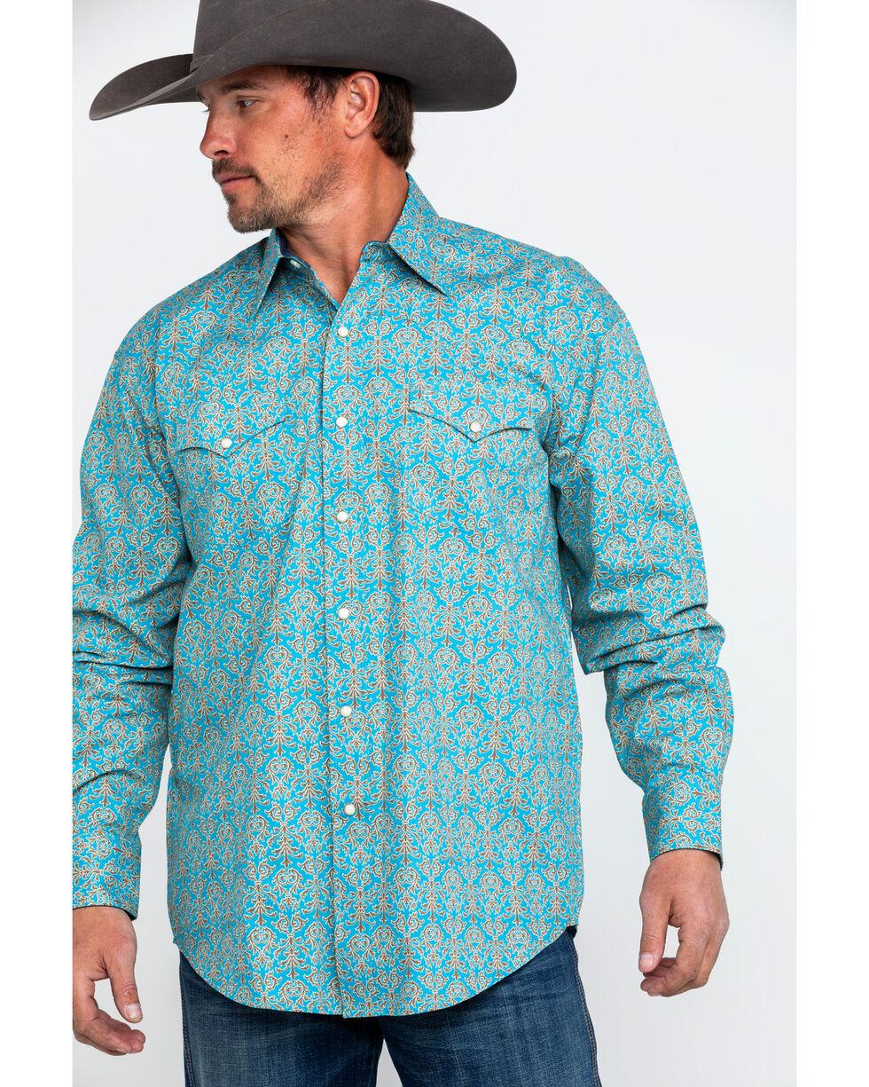 Stetson Men's Large Floral Print Long Sleeve Western Shirt , Blue, hi-res