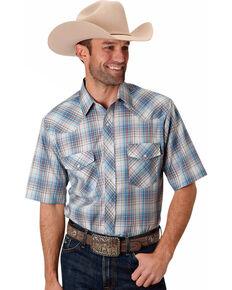 Roper Men's Blue Small Plaid Short Sleeve Western Shirt , Multi, hi-res