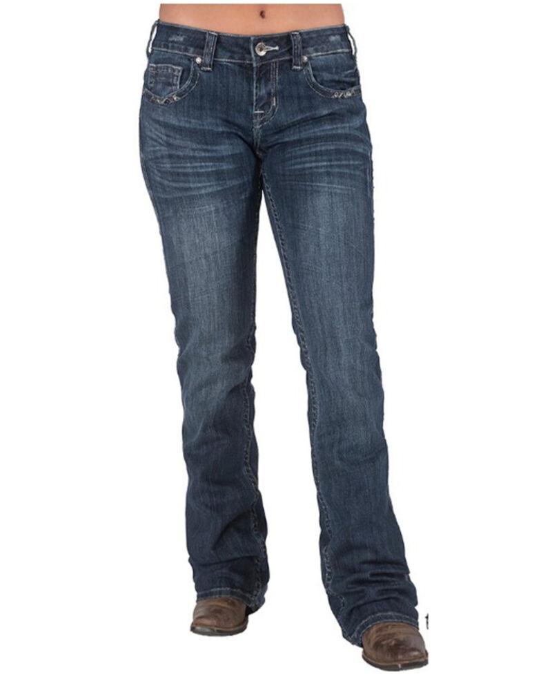 Cowgirl Tuff Women's Triple LLL II Women's Dark Wash Bootcut Jeans , Blue, hi-res