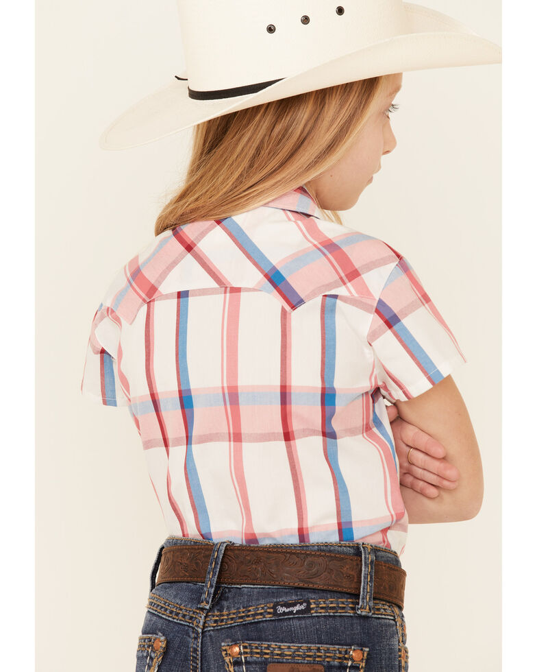 Shyanne Girls' White Plaid Short Sleeve Tie-Front Snap Western Shirt , White, hi-res