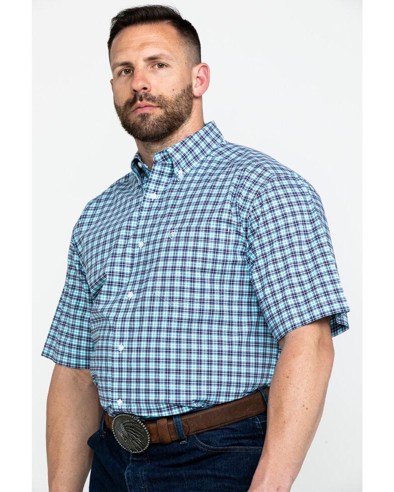 Ariat Men's Milos Stretch Small Plaid Short Sleeve Western Shirt , Purple, hi-res