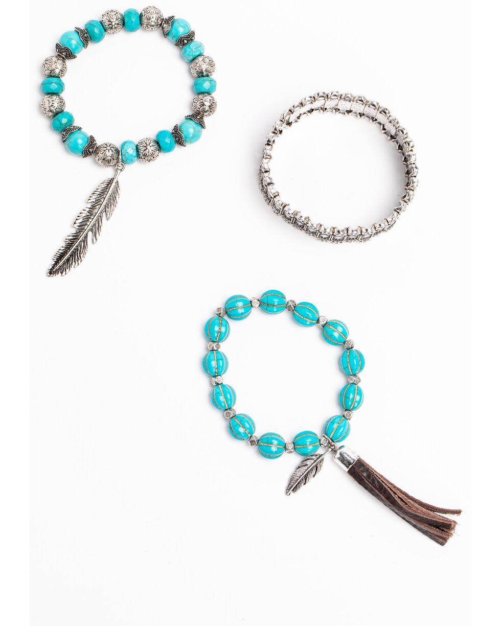 Idyllwind Women's Swagger Turquoise Fringe 3 Stack Bracelets, Silver, hi-res