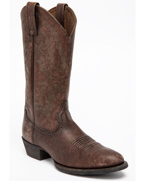 Ariat Men's Brown Heritage Calhoun Western Boots - Medium Toe , Chocolate, hi-res