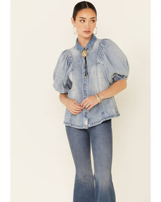 Free People Women's Blue Suhrie Denim Short Sleeve Top , Light Blue, hi-res
