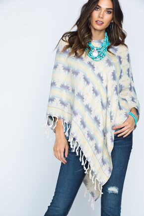 Ryan Michael Women's Southwest Jacquard Poncho, Multi, hi-res