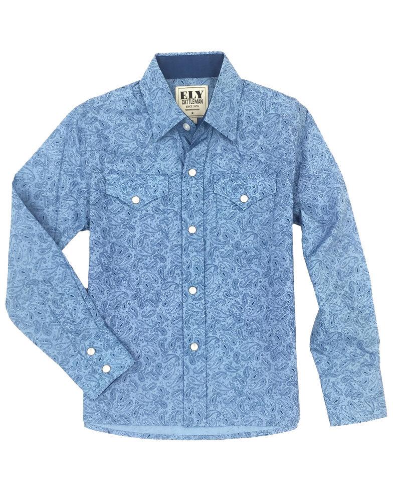Ely Cattleman Boys' Blue Paisley Print Long Sleeve Western Shirt , Blue, hi-res