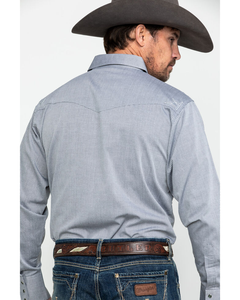 Wrangler Silver Edition Men's Geo Dot Print Long Sleeve Western Shirt , Grey, hi-res