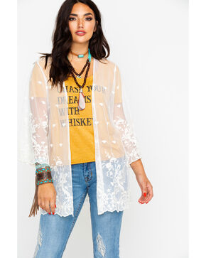 Nikki Erin Women's Embroidered Mesh Open Front Kimono, Ivory, hi-res