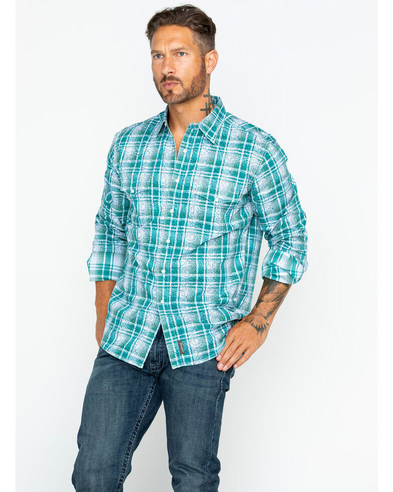 Wrangler Retro Men's Double Print Long Sleeve Western Shirt , Green, hi-res