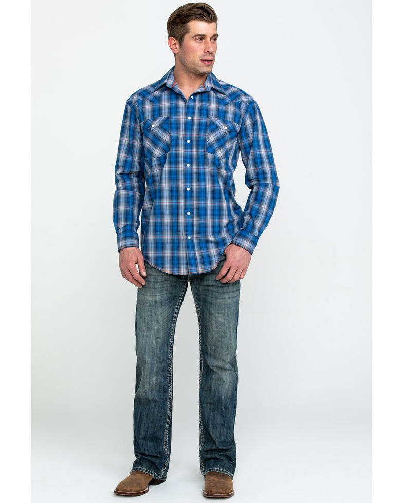Rough Stock by Panhandle Men's Holbrook Vintage Plaid Long Sleeve Western Shirt , Navy, hi-res
