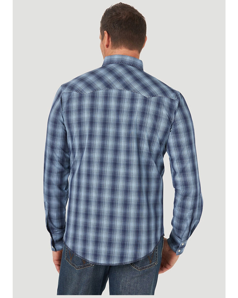 Wrangler Men's Blue Small Plaid Long Sleeve Fashion Snap Western Shirt , Blue, hi-res