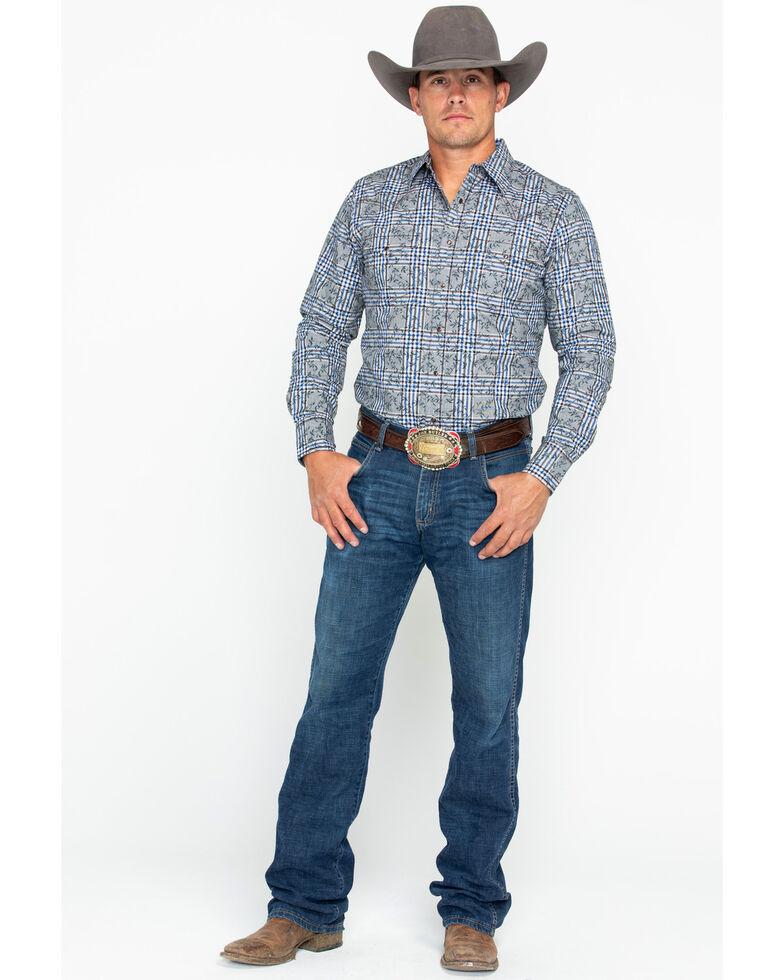 Wrangler Retro Men's Floral Plaid Long Sleeve Western Shirt, Black/blue, hi-res