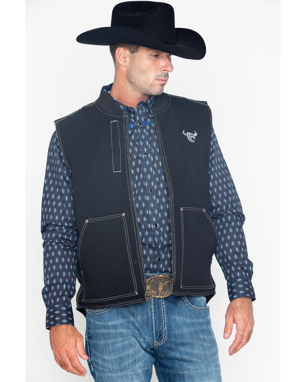 Cowboy Hardware Men's Zip-Up Workwear Logo Vest , Black, hi-res