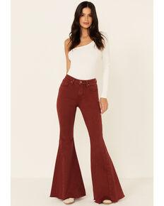 Shyanne Women's Rust High Rise Super Flare Jeans , Rust Copper, hi-res