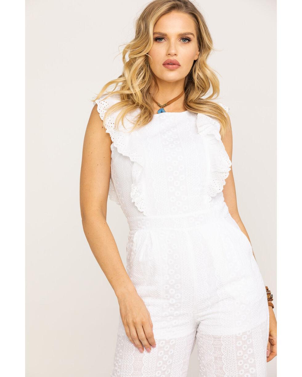 Polagram Women's White Ruffle Wide Leg Jumpsuit, White, hi-res