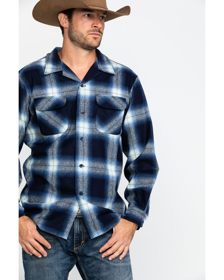 Pendleton Men's Navy Board Oxford Plaid Long Sleeve Western Shirt , Navy, hi-res