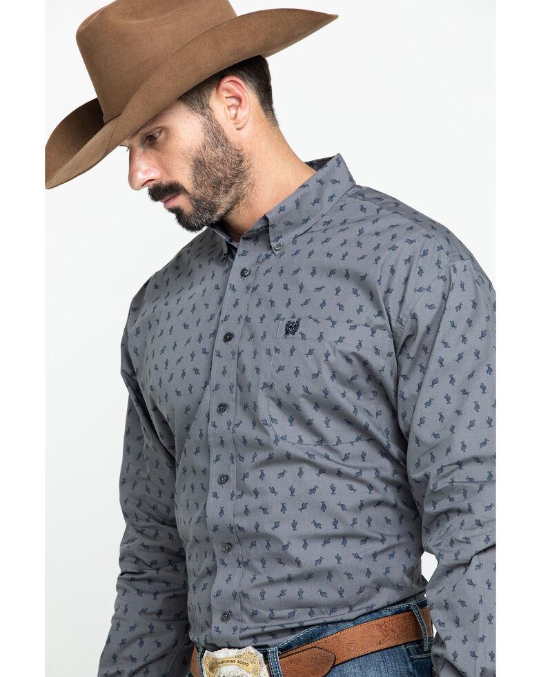 Cinch Men's Grey Cactus Geo Print Long Sleeve Western Shirt , Grey, hi-res