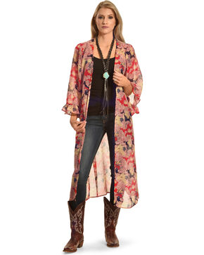 American Attitude Women's Floral Kimono with Ruffle Sleeves, Multi, hi-res