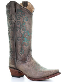 Circle G Women's Sand & Turquoise Embroidery Western Boots - Snip Toe, Turquoise, hi-res