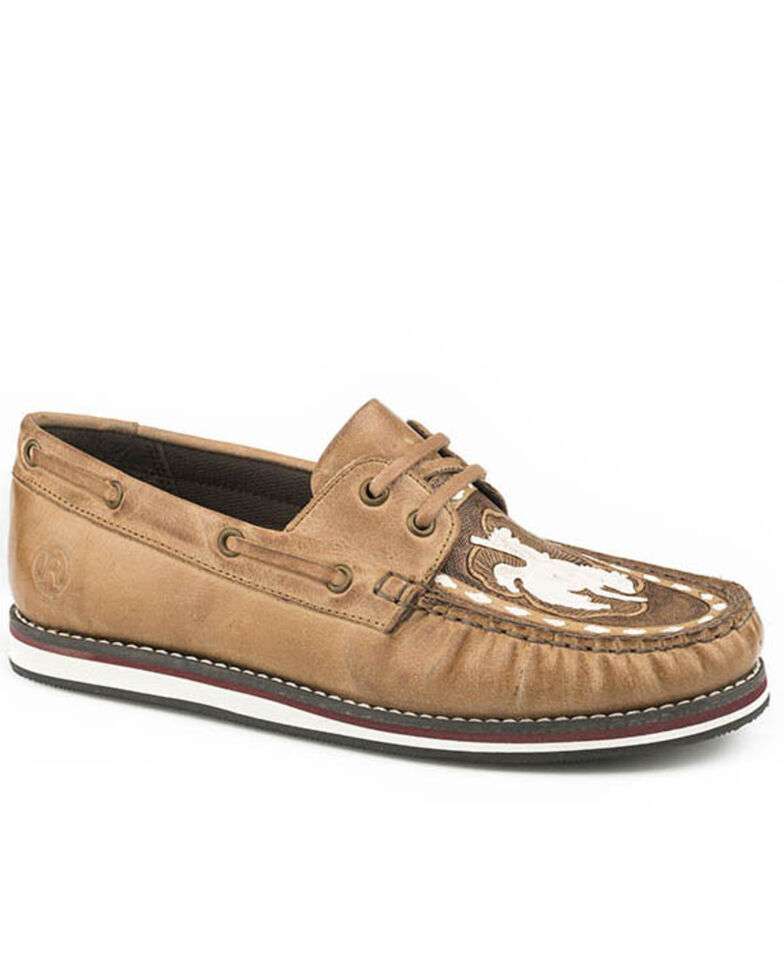 Roper Women's Beige Leather Moccasin Shoes - Moc Toe, Tan, hi-res