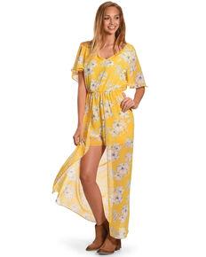 8edb5692f5ad CES FEMME Women s Yellow Floral Print Romper Dress