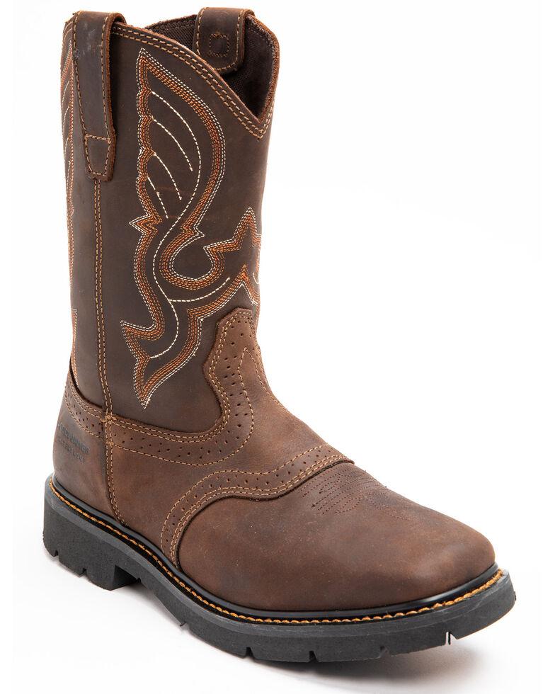 Cody James Men's Waterproof Saddle Western Work Boots - Soft Toe, Dark Brown, hi-res