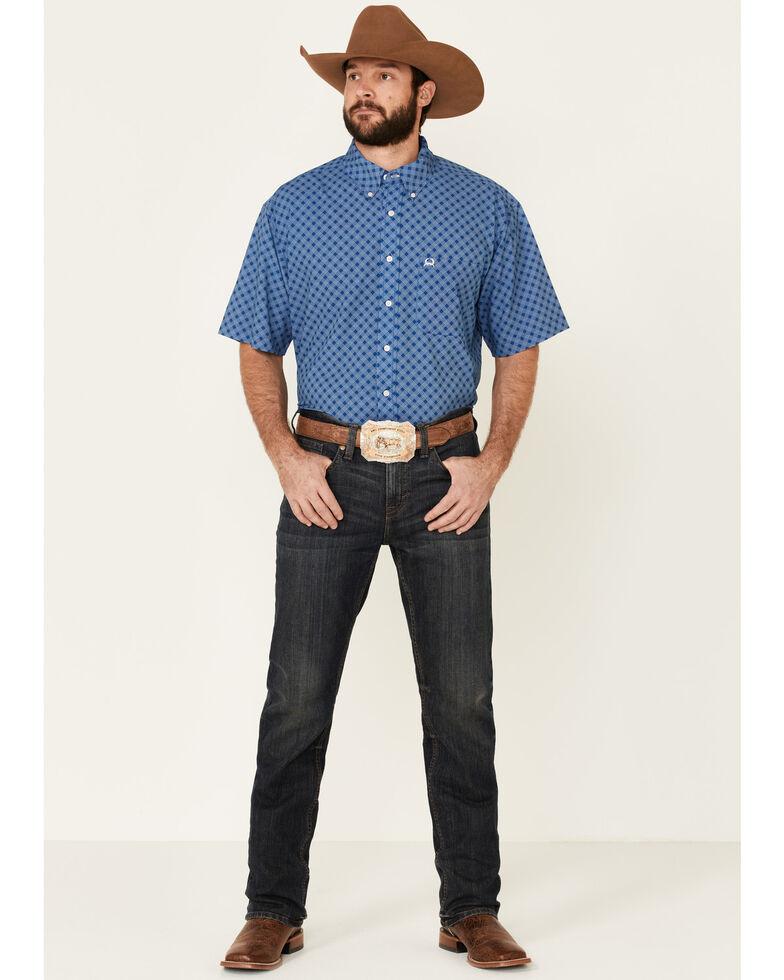 Cinch Men's Blue Diamond Print Short Sleeve Western Shirt, Royal Blue, hi-res