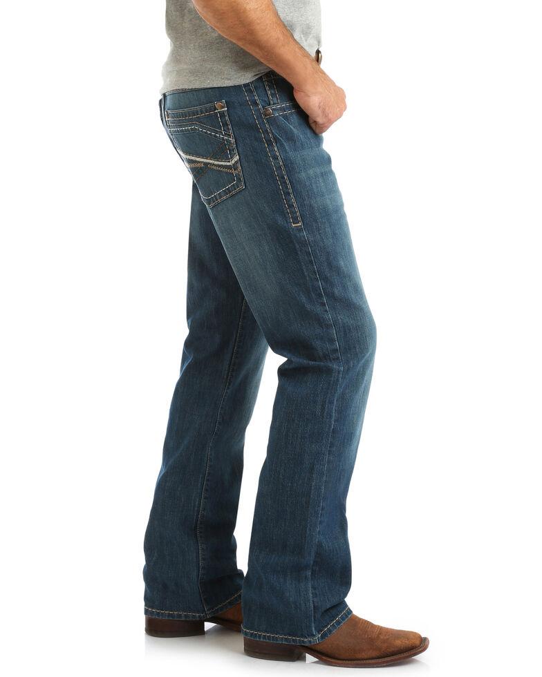 Rock 47 By Wrangler Men's Bridge Stretch Low Rise Slim Boot Jeans , Blue, hi-res
