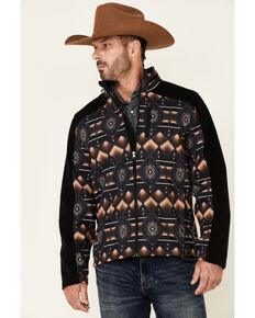 Powder River Outfitters Men's Black Aztec Print Performance Zip-Front Hooded Softshell Jacket  , Black, hi-res