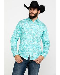 Wrangler Retro Men's Turquoise Paisley Print Long Sleeve Western Shirt  , Turquoise, hi-res