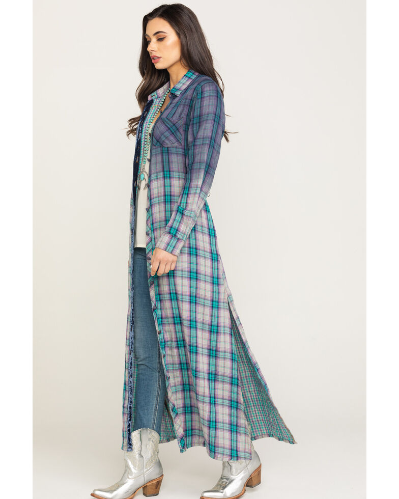 Aratta Women's Teal Plaid Ombre Duster, Teal, hi-res