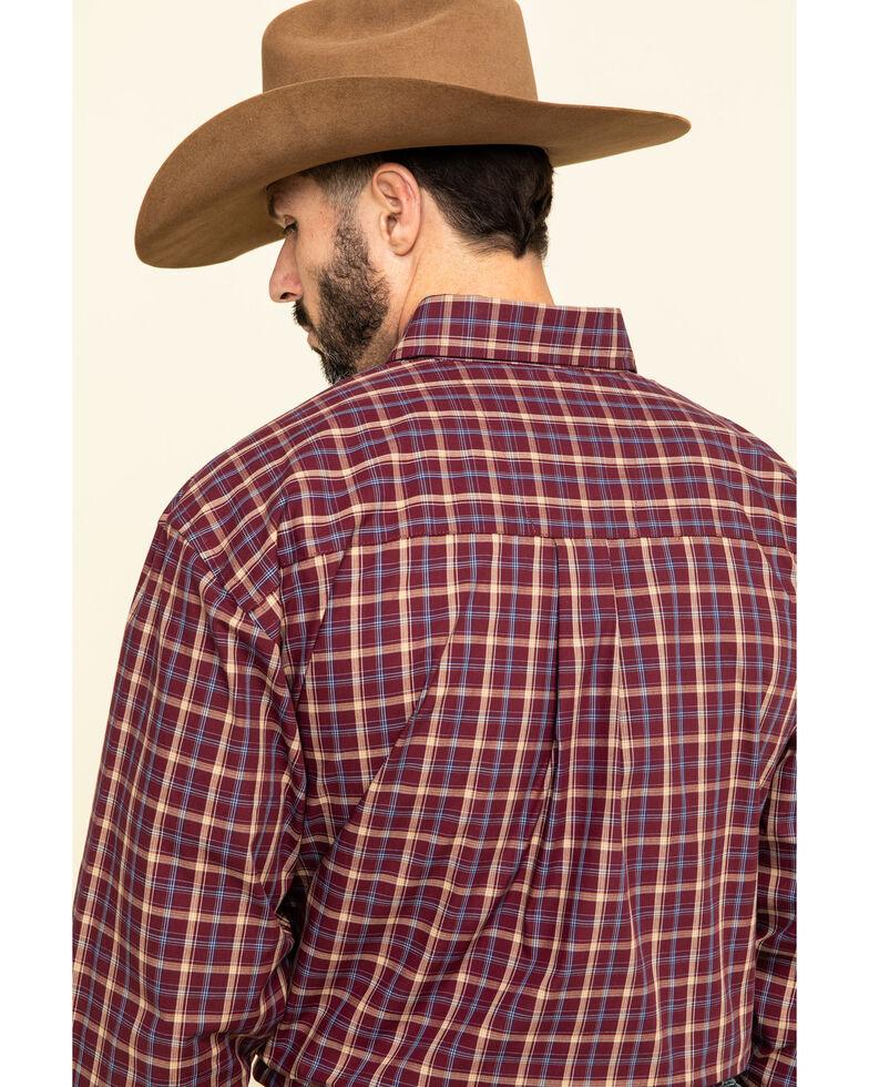 George Strait by Wrangler Men's Burgundy Med Plaid Button Long Sleeve Western Shirt - Big , Burgundy, hi-res