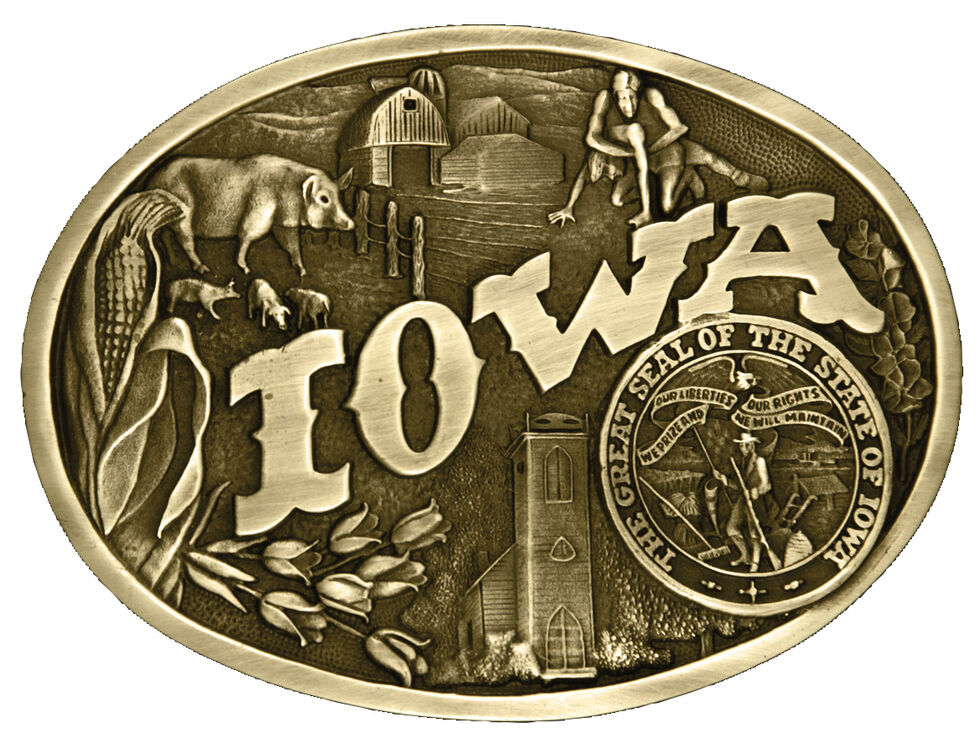 Montana Silversmiths Iowa State Heritage Attitude Belt Buckle, Gold, hi-res